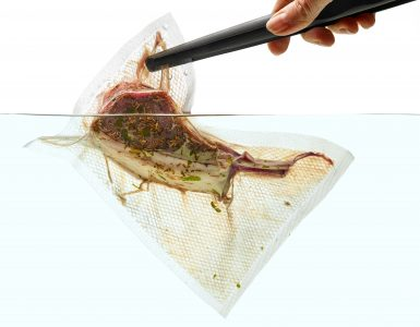 Side view of a bag with a steak being placed in water, with a white background.