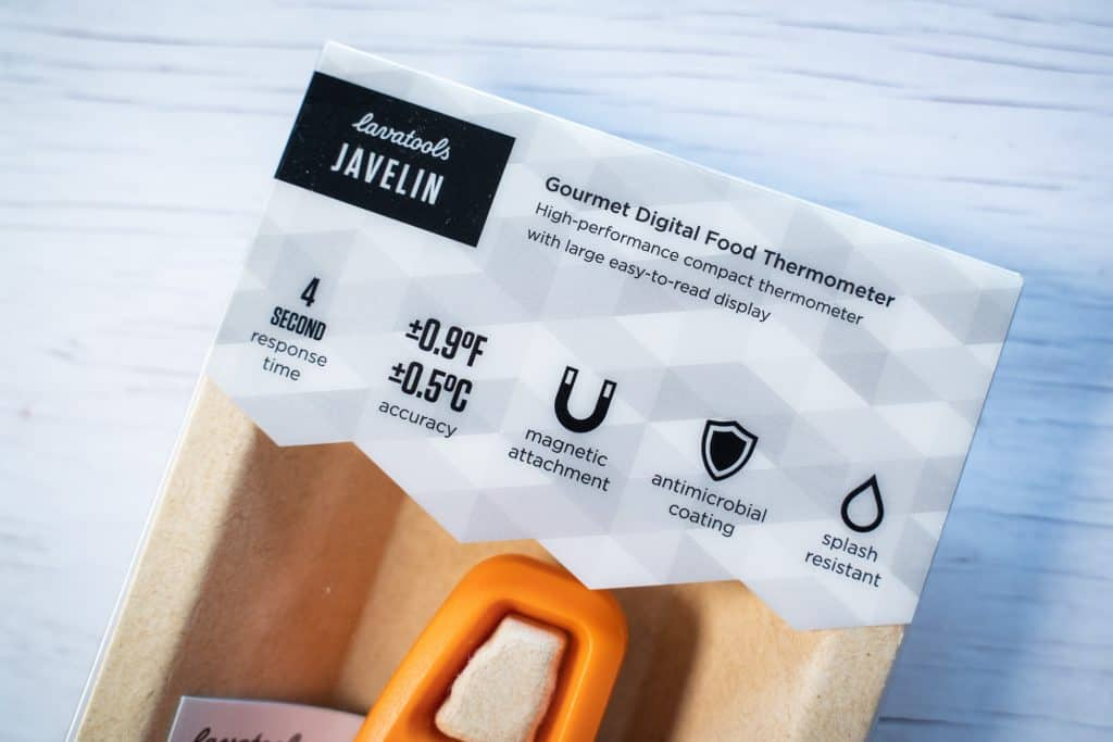 Close-up shot of the package of the Lavatools javelin showing the information on the front of the box.